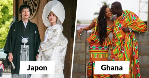 Voici à quoi ressemblent les tenues de mariage de 30 pays du monde