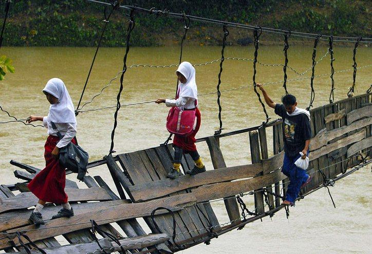 18 des plus dangereux et inhabituels trajets vers l'école au monde