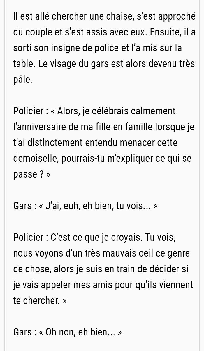 Un idiot a traité une fille de façon horrible lors d'un rendez-vous romantique, mais un policier hors service a entendu leur conversation