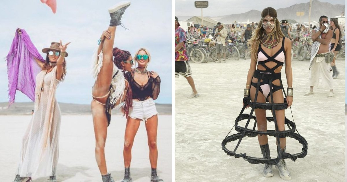 With legs chicks at burning man