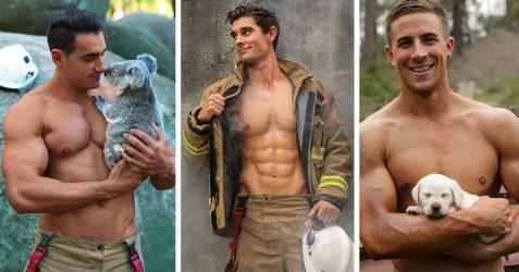13 photos de pompiers posant avec des chiots pour la charité