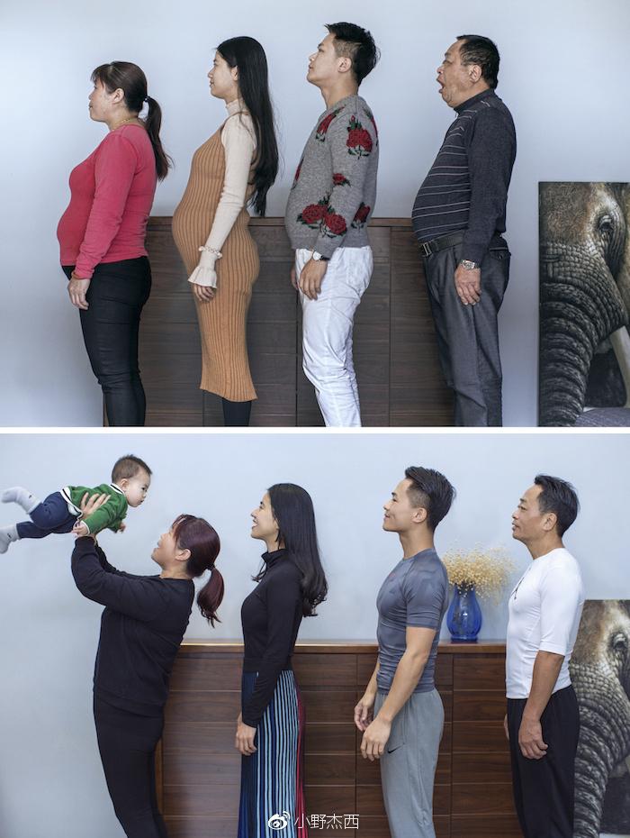 Une famille s'entraîne pendant 6 mois, et voici leurs photos avant et après
