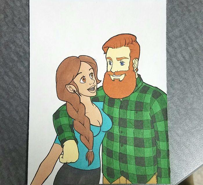 Un gars surprend sa petite amie en la dessinant dans 10 styles de dessins animés différents, et le résultat fait fondre son coeur
