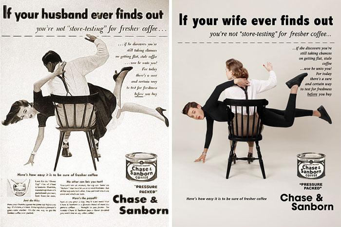 Un photographe inverse les rôles des hommes et des femmes dans de vieilles publicités sexistes, et certains hommes n'aimeront pas le résultat