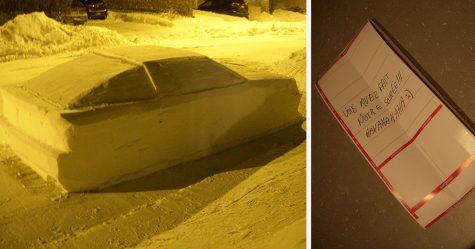 Les internautes sont incapables d'arrêter de rire de ces policiers qui ont donné une contravention à une voiture de neige avec cette note
