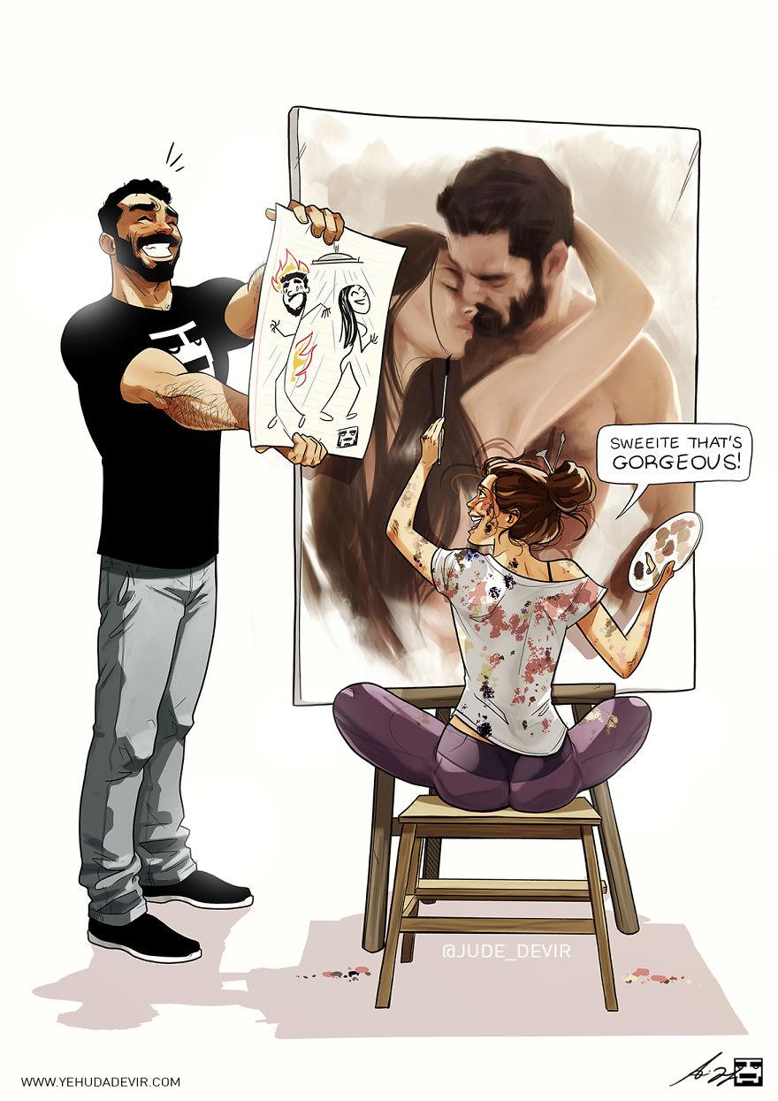 Cet artiste crée des illustrations inspirées de sa vie quotidienne avec sa femme, et on n'est pas jalouses du tout (nouvelles images)