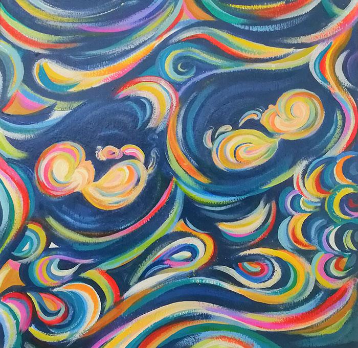 Cette artiste transforme les échographies des mamans en peintures colorées