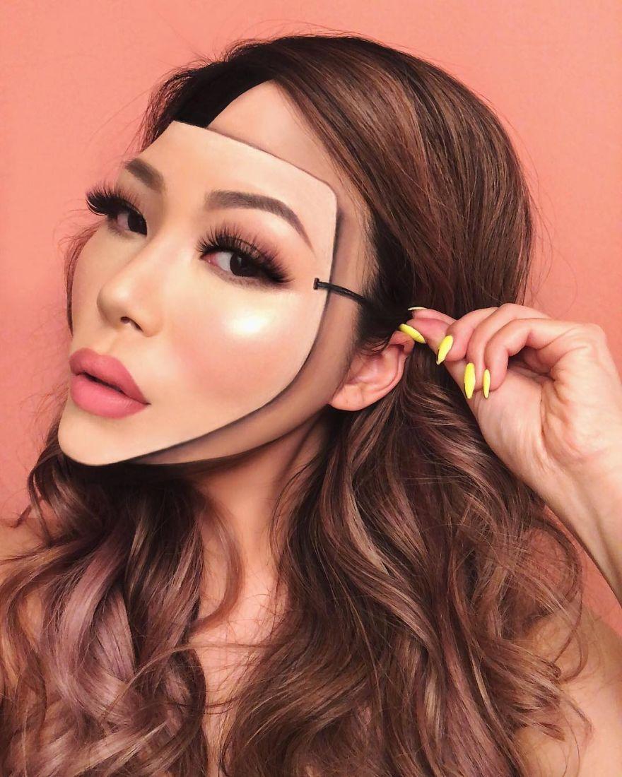 Cette femme a abandonné l'enseignement pour créer des illusions d'optique avec du maquillage, et elles nous embrouillent la tête (nouvelles images)