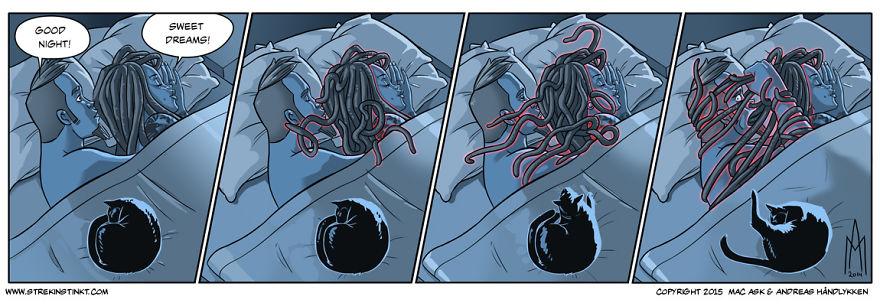 On est un couple marié qui présente ses problèmes quotidiens dans des bandes dessinées avec une tournure surréelle