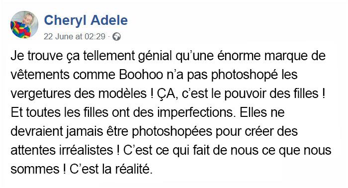 Boohoo publie une image sans photoshoper les «imperfections» du modèle, et les internautes disent «ENFIN!»