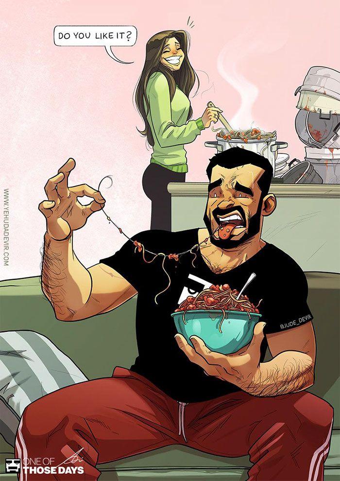 Cet artiste continue de dessiner sa vie quotidienne avec sa femme, et on voit enfin le couple derrière les bandes dessinées