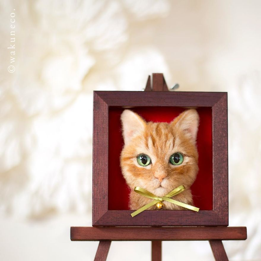 Une artiste japonaise crée des portraits de chats réalistes en 3D avec de la laine feutrée, et le résultat est juste trop parfait