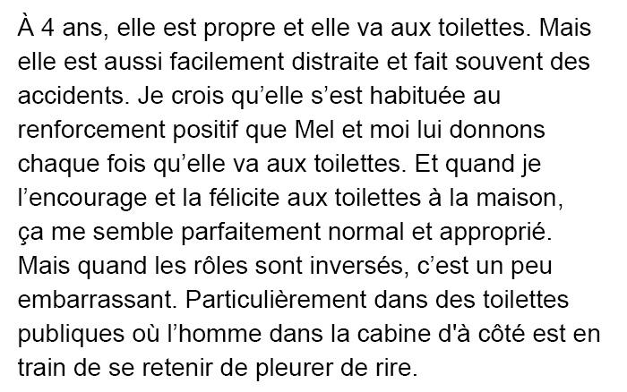 Ce papa a eu la diarrhée dans les toilettes publiques avec sa fille de 4 ans et sa réaction a fait pleurer de rire un homme dans une autre cabine