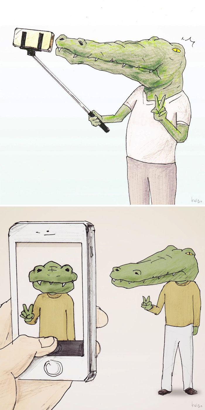 22 problèmes d'un crocodile présentés de façon hilarante par l'artiste japonais Keigo