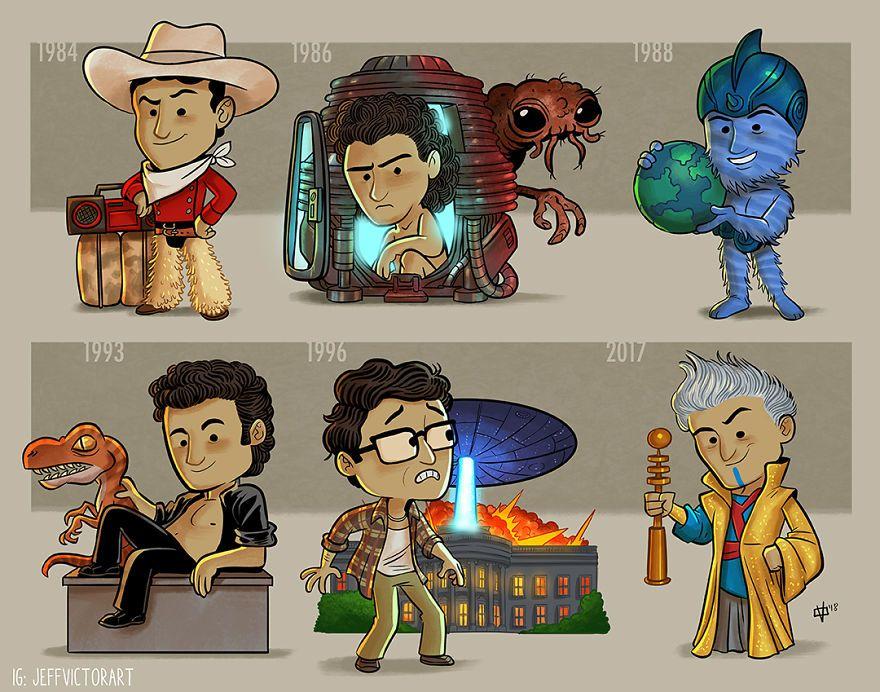 Cet artiste crée des illustrations pour présenter l'évolution des icônes de la culture pop (33 images)