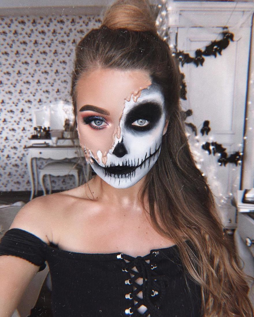 Cette fille peut se transformer en n'importe quoi et voici ses 20 meilleurs maquillages d'Halloween (ATTENTION: images explicites)