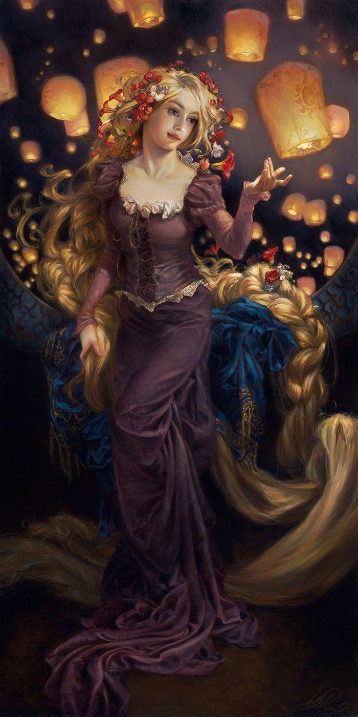 Une artiste a imagin quoi ressembleraient les - Peinture princesse disney ...