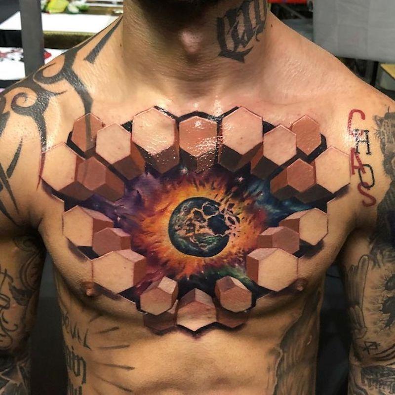 Ce tatoueur transforme la peau de ses clients en scènes 3D hallucinantes (21 images)