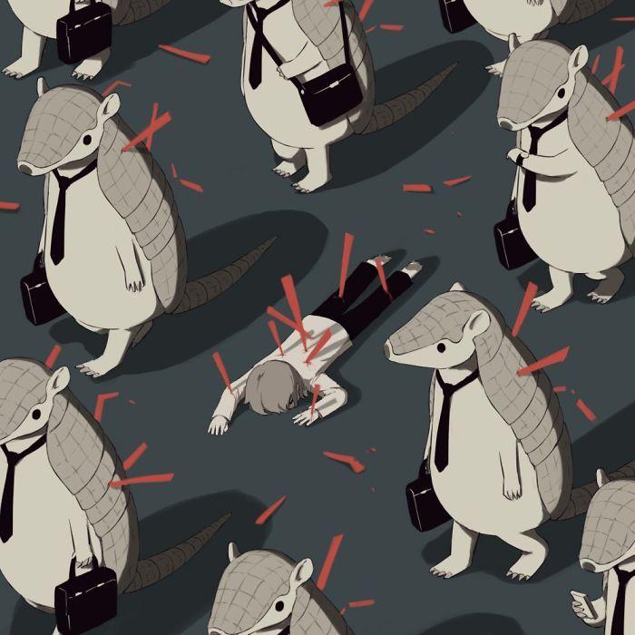 33 puissantes illustrations par un artiste japonais qui va vous faire réfléchir (nouvelles images)