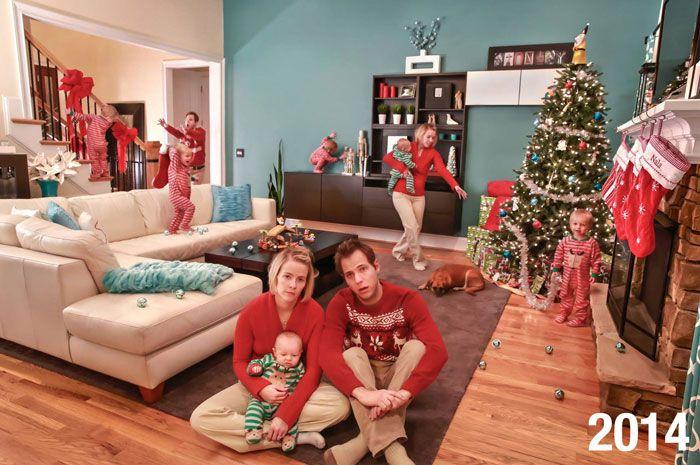 Cette famille a commencé à faire des cartes de Noël «vraie vie» il y a 5 ans et elles deviennent de plus en plus folles à mesure que les enfants grandissent