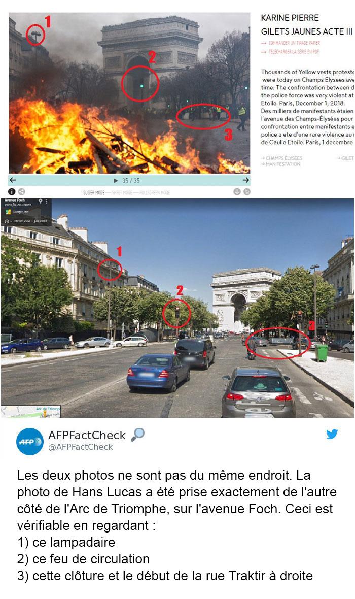 Quelqu'un a montré à quoi «ressemblait réellement» l'incendie lors de la manifestation de Paris, mais il s'est fait clouer le bec par des faits