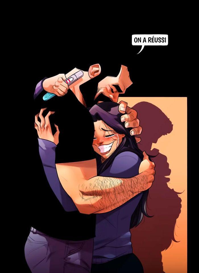 L'artiste qui illustre sa vie quotidienne avec sa femme vient d'annoncer qu'ils vont avoir un bébé et partage leurs difficultés en 8 bandes dessinées