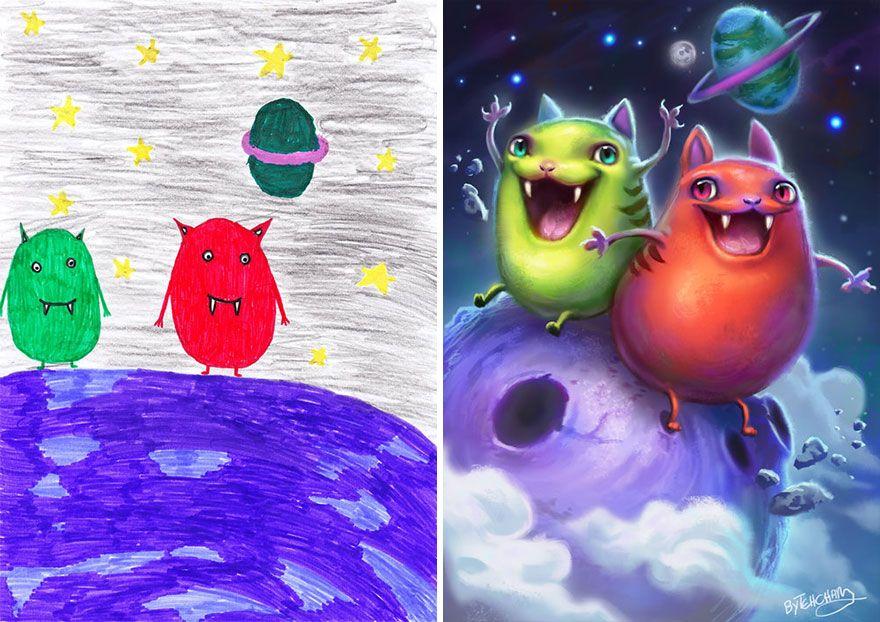 Voici ce qui arrive quand des artistes professionnels reproduisent des griffonnages de monstres d'enfants dans leur propre style (nouvelles images)
