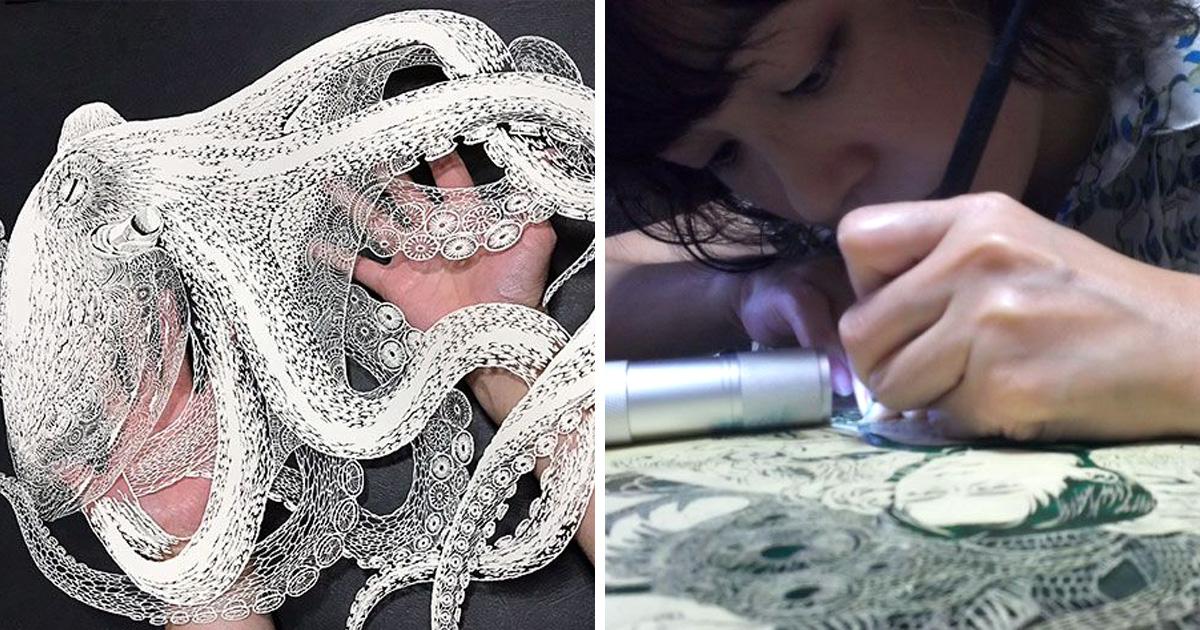 Cette artiste japonaise a découpé une pieuvre entière dans une seule feuille de papier et c'est encore plus impressionnant de près