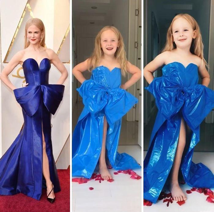 33 fois où une mère et sa fille ont imité les tenues du tapis rouge avec de simples articles ménagers