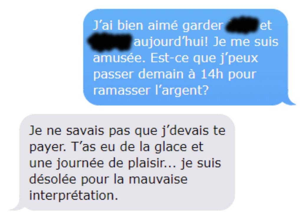 Une maman a refusé de payer la baby-sitter parce qu'elle a eu «de la glace gratuite et une journée de plaisir», alors elle lui a montré ses textos «supprimés»