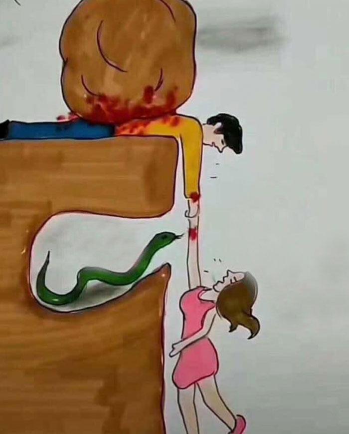 Quelqu'un a expliqué pourquoi il arrive souvent aux couples de ne pas se comprendre en une seule illustration