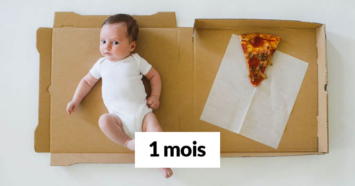 Cette maman a documenté les 12 premiers mois de son bébé en utilisant des pointes de pizza avec différentes garnitures
