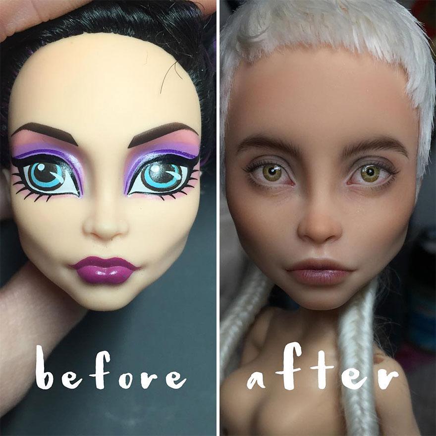 Cette artiste ukrainienne continue de démaquiller des poupées pour les repeindre de façon très réaliste (nouvelles images)