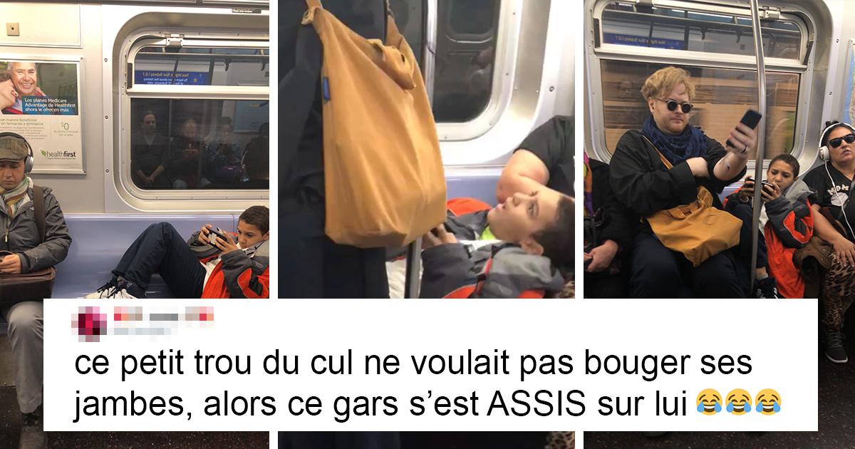 Un enfant a refusé de bouger ses jambes dans le métro et quelqu'un a filmé sa réaction lorsqu'un gars s'est assis sur lui