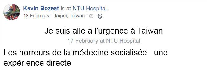 Des gens se sont mis à remettre en question le système de santé américain quand cet Américain a été hospitalisé à Taiwan et n'a dû payer que 80$