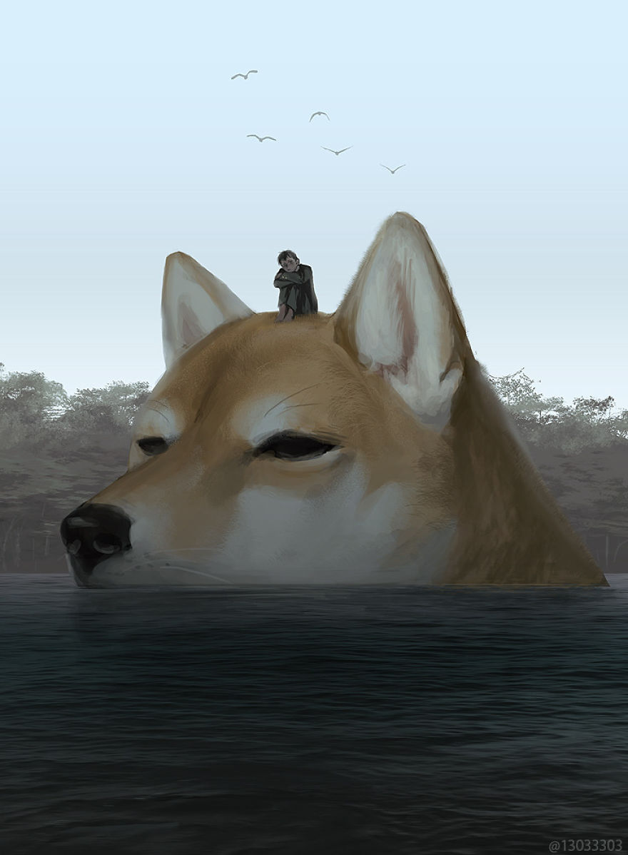 Cet illustrateur japonais imagine un monde où les humains vivent parmi des animaux géants (30 images)