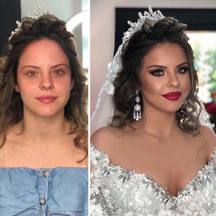 11 photos de mariées prises avant et après leur maquillage de mariage