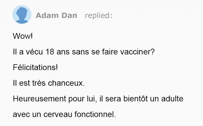 Cette maman anti-vaccin a demandé comment empêcher son fils de se faire vacciner à 18 ans et elle s'est fait clouer le bec dans les commentaires