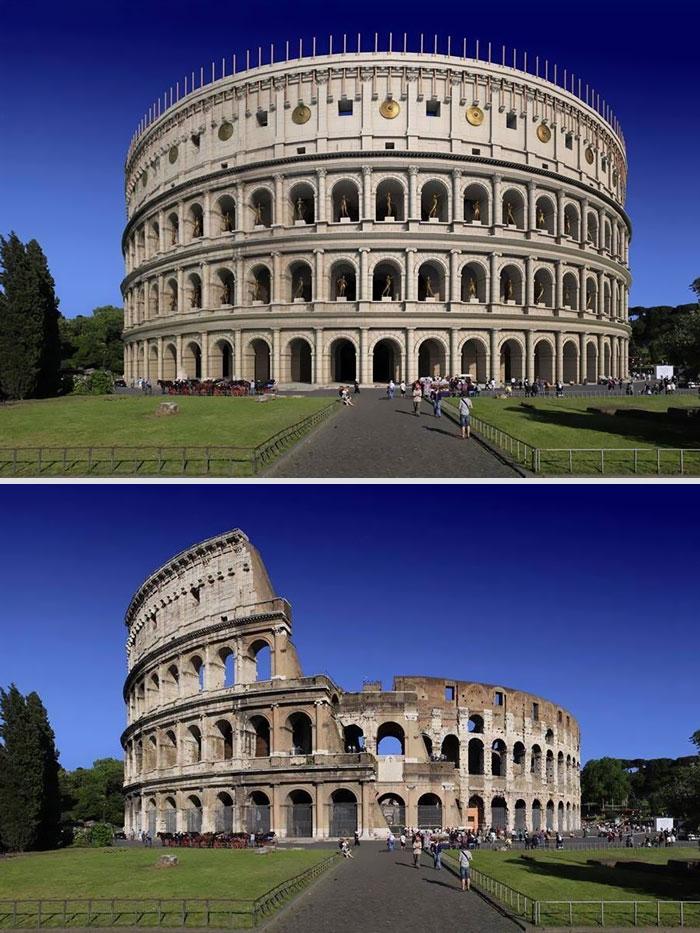 Voici à quoi ressemblaient 11 célèbres structures de la Rome antique dans le passé vs aujourd'hui ! By Ipnoze.com Structures-batiments-rome-antique-avant-apres-001