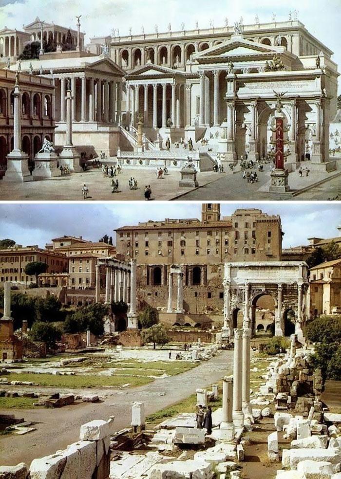 Voici à quoi ressemblaient 11 célèbres structures de la Rome antique dans le passé vs aujourd'hui ! By Ipnoze.com Structures-batiments-rome-antique-avant-apres-002