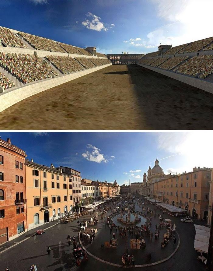 Voici à quoi ressemblaient 11 célèbres structures de la Rome antique dans le passé vs aujourd'hui ! By Ipnoze.com Structures-batiments-rome-antique-avant-apres-003