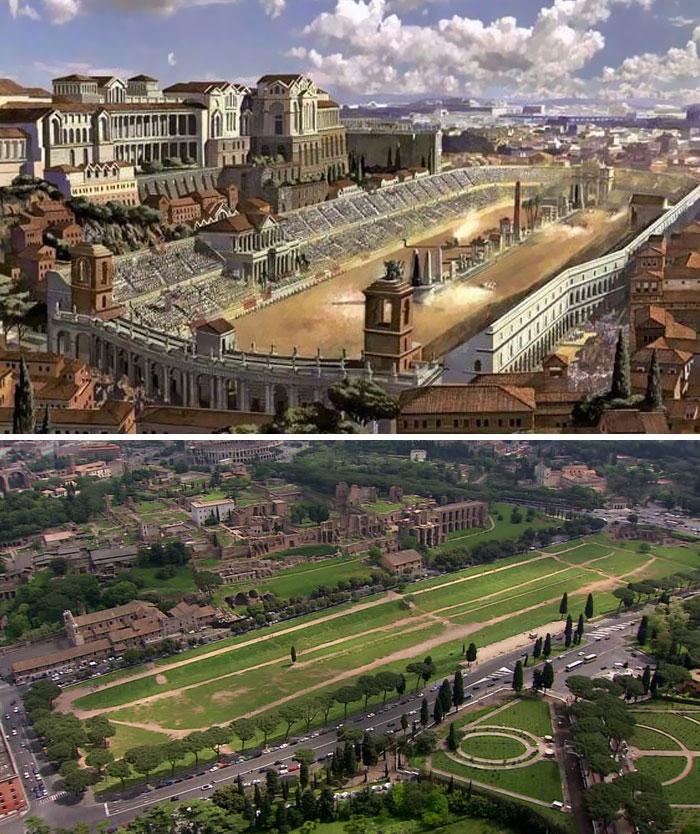 Voici à quoi ressemblaient 11 célèbres structures de la Rome antique dans le passé vs aujourd'hui ! By Ipnoze.com Structures-batiments-rome-antique-avant-apres-004