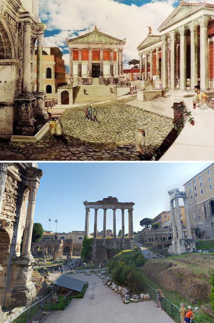 Voici à quoi ressemblaient 11 célèbres structures de la Rome antique dans le passé vs aujourd'hui ! By Ipnoze.com Structures-batiments-rome-antique-avant-apres-005