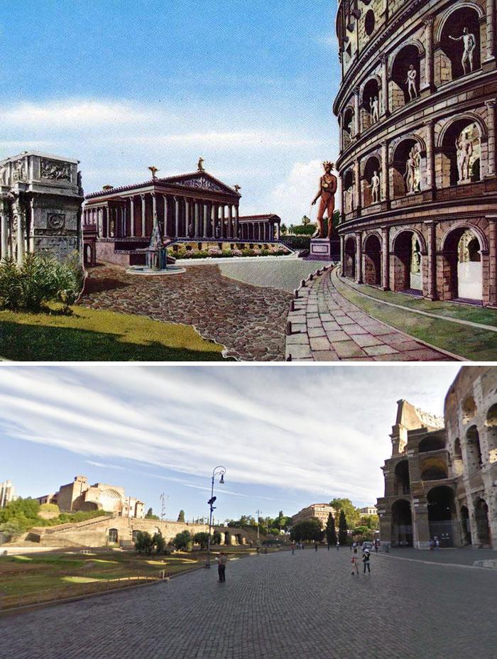 Voici à quoi ressemblaient 11 célèbres structures de la Rome antique dans le passé vs aujourd'hui ! By Ipnoze.com Structures-batiments-rome-antique-avant-apres-006
