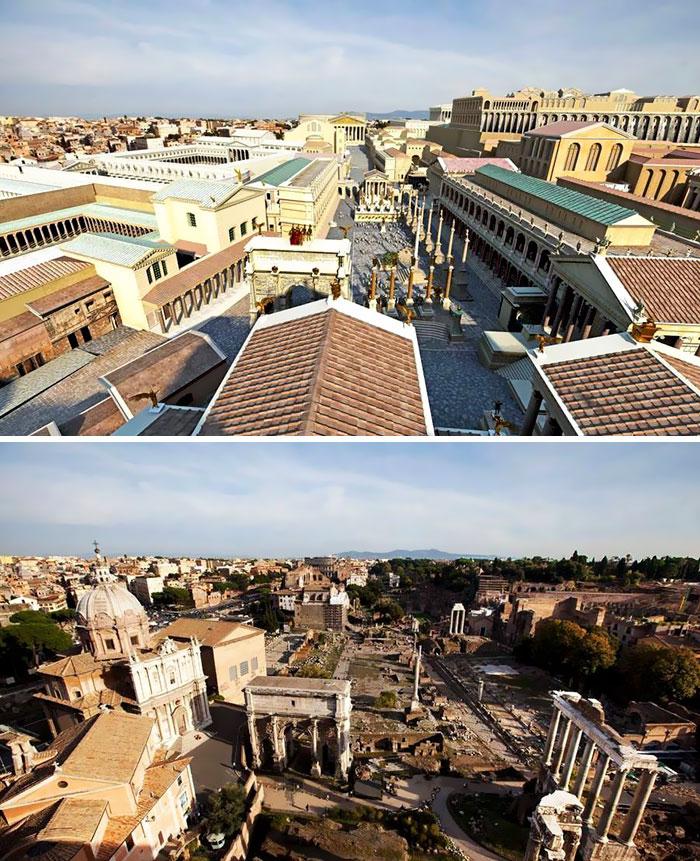 Voici à quoi ressemblaient 11 célèbres structures de la Rome antique dans le passé vs aujourd'hui ! By Ipnoze.com Structures-batiments-rome-antique-avant-apres-007