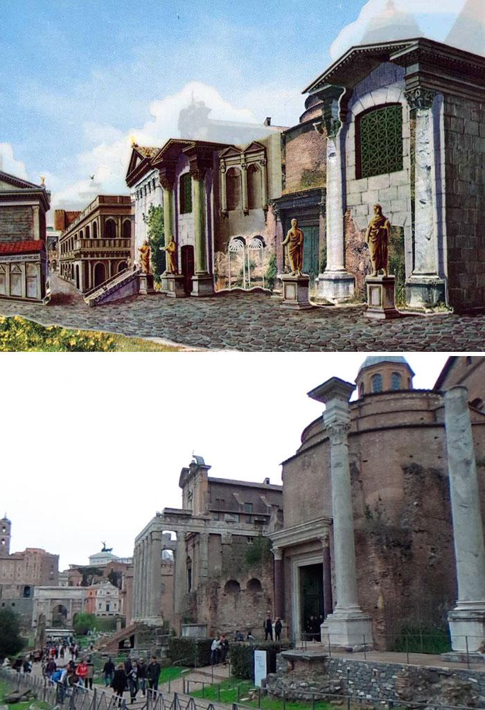 Voici à quoi ressemblaient 11 célèbres structures de la Rome antique dans le passé vs aujourd'hui ! By Ipnoze.com Structures-batiments-rome-antique-avant-apres-009