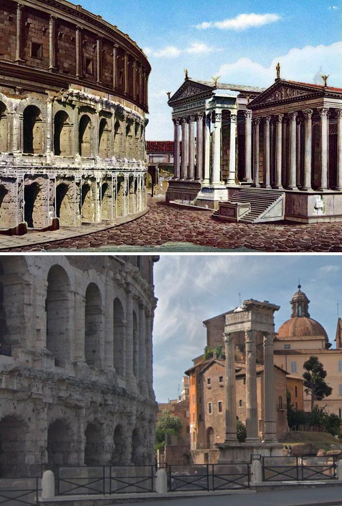 Voici à quoi ressemblaient 11 célèbres structures de la Rome antique dans le passé vs aujourd'hui ! By Ipnoze.com Structures-batiments-rome-antique-avant-apres-010