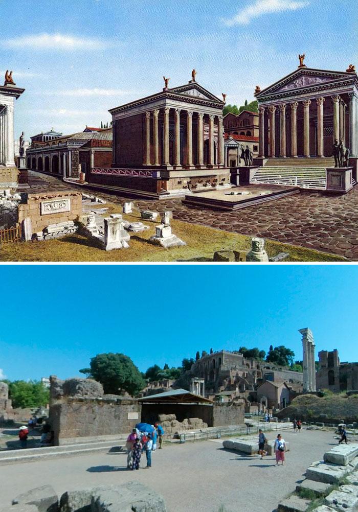 Voici à quoi ressemblaient 11 célèbres structures de la Rome antique dans le passé vs aujourd'hui ! By Ipnoze.com Structures-batiments-rome-antique-avant-apres-011
