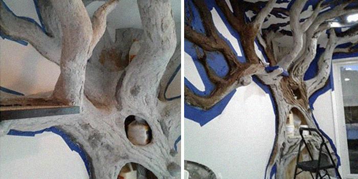 Un homme a créé un arbre artificiel d'intérieur pour un chat et le maître l'adore