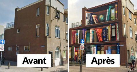 Des artistes ont peint une bibliothèque géante sur un immeuble d'appartements qui présente les livres préférés des résidents